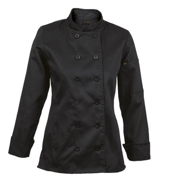 Ladies Long Sleeve Savona Chef Jacket - Available in: Black, Pin