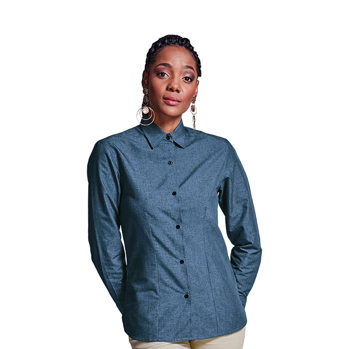 Ladies Berlin Blouse Long Sleeve. Blue Melange/Black or Silver M