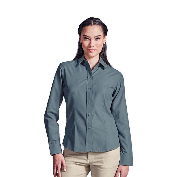 Ladies Easy Care Blouse Long Sleeve. Grey, Sky Blue or White
