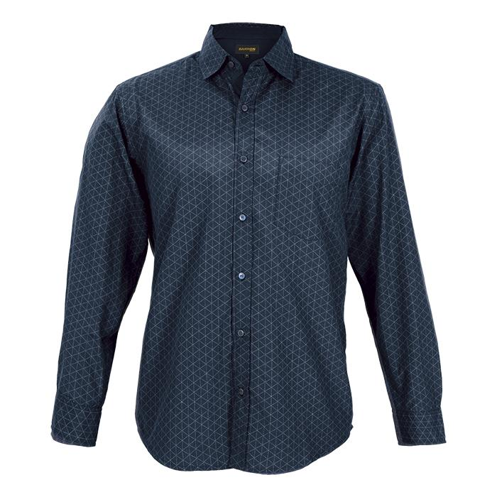 Mens Claremont Lounge Shirt Long Sleeve. Charcoal/Black, Navy/Si