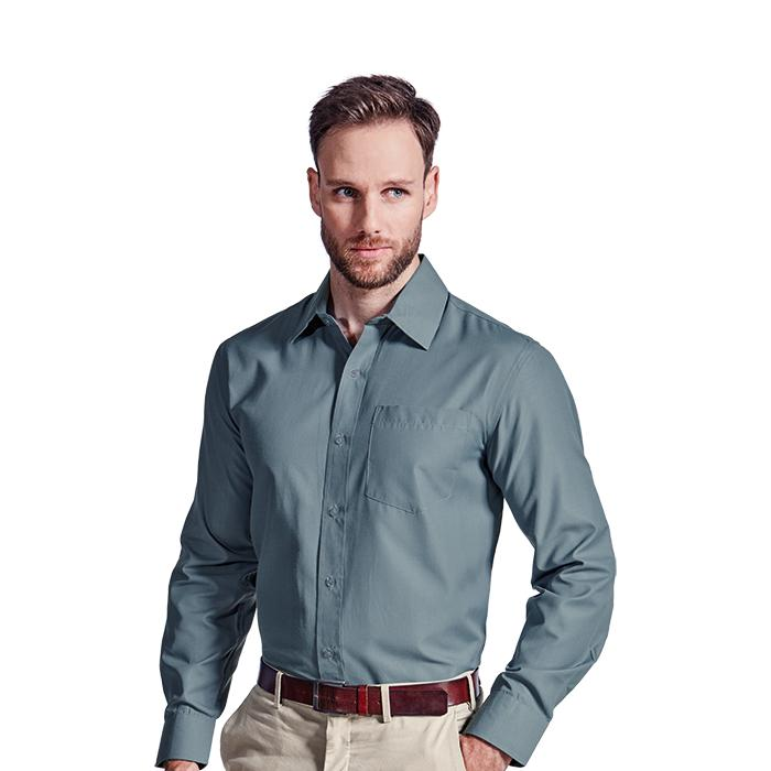 Mens Easy Care Lounge Shirt Long Sleeve. Grey, Sky Blue or White