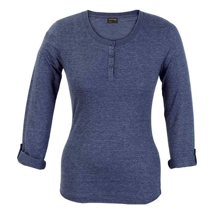 Ladies 145g Henley Long Sleeve T-Shirt. Black, Charcoal Melange,