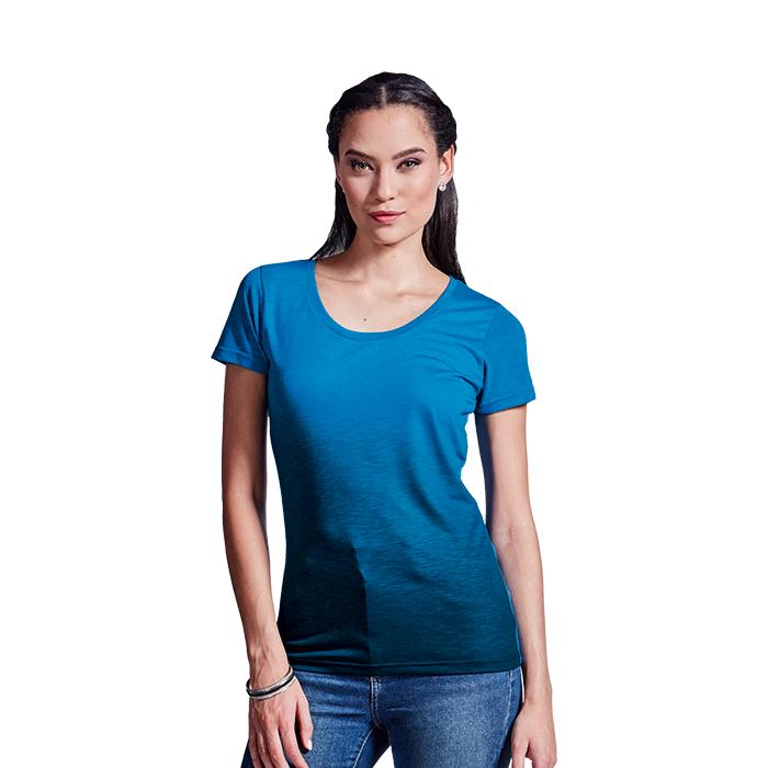 Ladies Bailey Crew Neck T-Shirt. Atlantic Blue/Navy, Grey/Charco