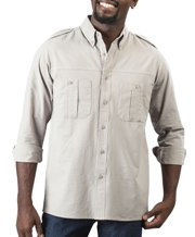 Gents Tracker Long Sleeve Shirt - Availe in:Stone or Khaki