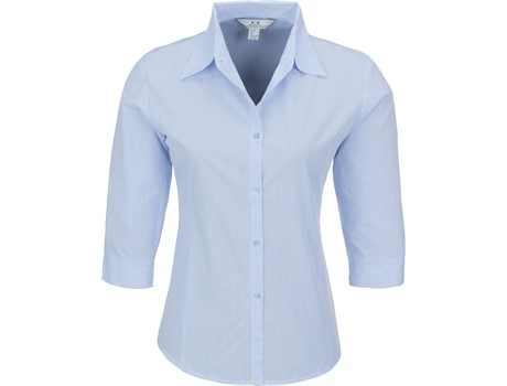 Biz Collection Micro Check 3/4 Sleeve Shirt - Ladies