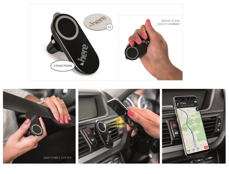 Voyager Multi-Function Car Tool, Mobile Holder - Black