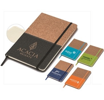 Cork A5 Notebook - Black, Vlue, Cyan, Lime or Orange