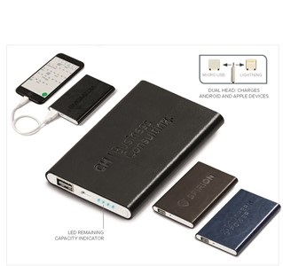Renaissance Slim 4000mAh Power Bank - Black, Brown or Navy