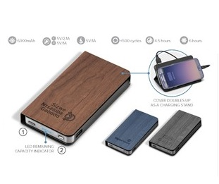 Spector Woodland 6000Mah Power Bank - Avail in: Black, Navy or B