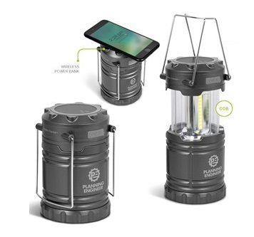 Cape Town Lantern & 4000mAh Wireless Power Bank SC - Gun Metal