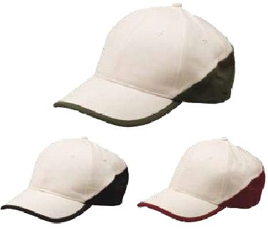 6-Panel Cotton Cap two tone. with Velcro Fastener - Natural / Bl