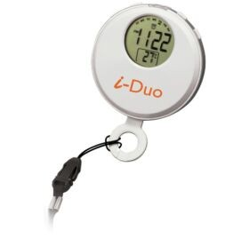 Clip on stop watch with thermometer