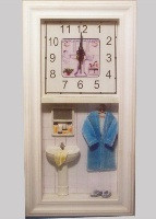 Wooden Wall Clock with Bathroom Theme - 39cm High