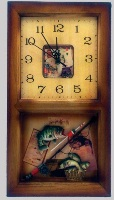 Wooden Wall Clock with Fishing Theme - 40cm High