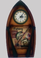 Wooden Wall Clock in Boat Shape with Fishing Theme - 42cm High