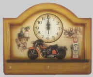 Wooden Wall Clock & Key Hooks with Motorbike Theme - 30cm Wide