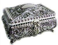 Silver Plated Jewellery Box 17cm