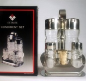 Stainless Steel & Glass Cruet Set