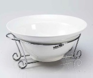 White Round Salad Bowl With Stand 12 * 28cm