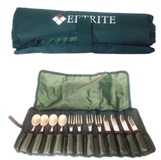 12 Pc Picnic Cutlery Set in Green Carry Bag