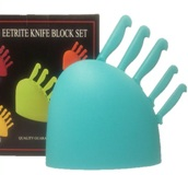 Eetrite Knife Set Teal Blue Knives & Holder