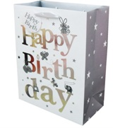 Set 6 Gift Bags - Happy Birthday Silver X Large
