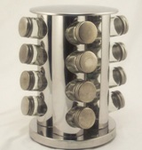 Stainless Steel Spice rack with 16 Glass Bottles - 28cm