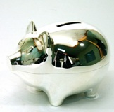 Silver Plated Piggy Money Box - 9.5cm
