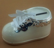 Silver Plated Shoe Money Box Cream - 11cm