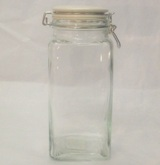 Hermetic Square Glass Storage Jar & Lid 1.8 Litre - 25cm (Height