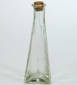 Triangular Glass Bottle with Cork - 18cm (Height)