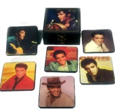 Set 6 Black/White Elvis Coasters in Elvis Box