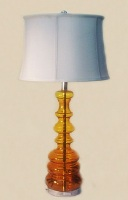 Amber glass Lamp with Ivory Shade - 91 cm