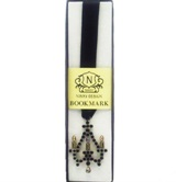 Jewelled Chanderlier Bookmark - black ribbon