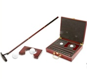 Metal Golf Indoor Putting Set in Wooden Box