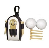 Golf Set in Plastic &  Pu Pouch including 3 golf balls, Pitchfor
