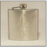 Hip Flask 6 oz with Fleur D'Lis Design