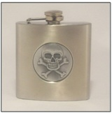 Hip Flask 6 oz with Skull Insert