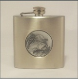 Hip Flask 6 oz with Fish Insert