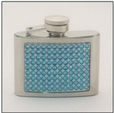 Hip Flask 6 oz with Blue Crystals