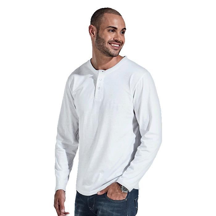 Barron 145g Henley Long Sleeve T-Shirt - Avail in: Black, Navy M