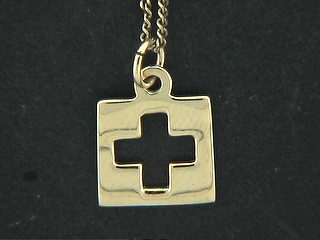 Cut Out Cross Disk Charm
