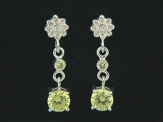 Cubic Flower And Citrine Cubic Drop Earrings