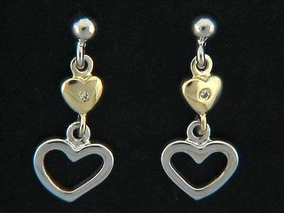 Opena And Gold Heart Earings