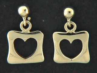 Ball Stud With Open Heart Disk Earrings