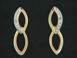 Alternate Pave Shinny Double Open Marquise Earrings