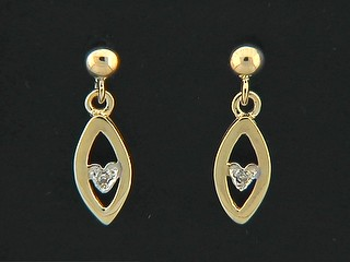 Ball Stud With Open Marquise Diamond Heart Earrings