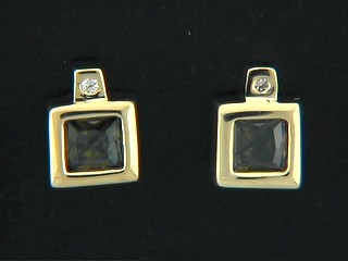 Round Diamond Square And Square Olive Cubic Earrings
