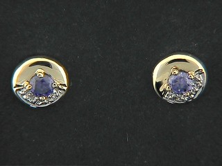 Cubic Amethyst Pave Shinny Round Stud Earrings