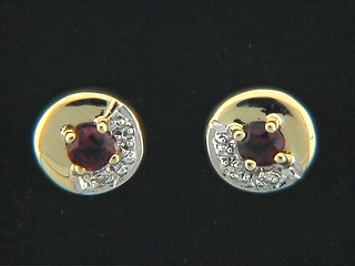 Cubic Garnet Pave Shinny Round Stud Earrings